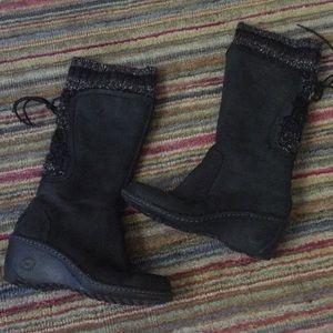 Ugg Skylair wedge Tall boot black knit gray cuff 7